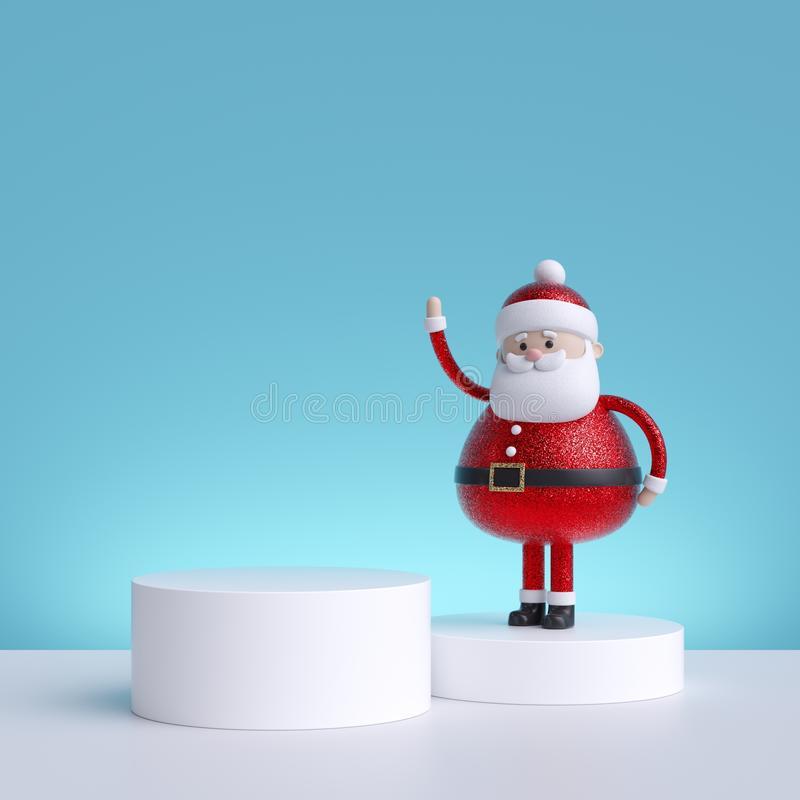 3d Christmas background with Santa Claus standing on pedestal. Blank product display. Winter holiday commercial mockup. With copy space stock photo