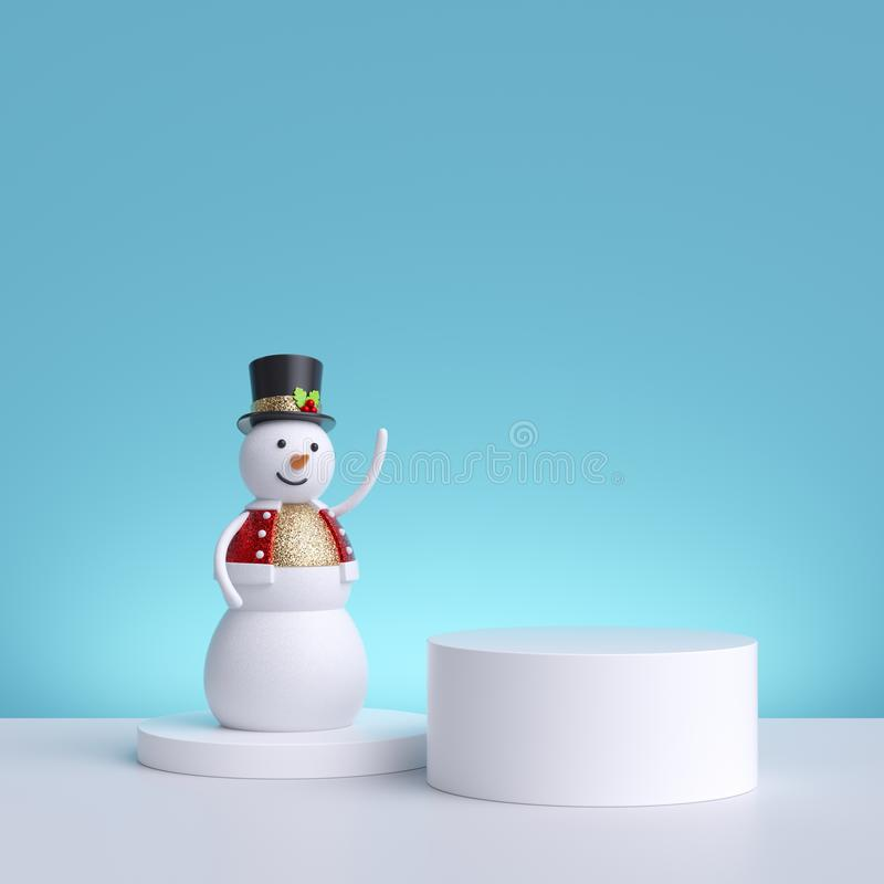 3d Christmas background with snowman standing on pedestal. Blank product display. Winter holiday commercial mockup with copy space stock photography
