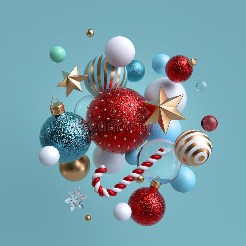 3d Christmas background. Winter holiday ornaments levitating. Red blue white glass balls, candy cane, golden stars isolated. Festive clip art. Arrangement of royalty free stock photos