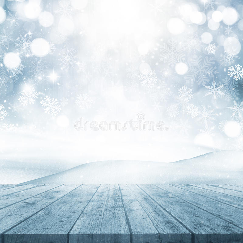 3D Christmas background with wooden table looking out to a snowy vector illustration