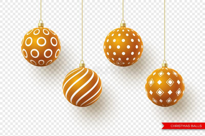 3d Christmas brown balls with geometric pattern. Decorative elements for holiday new year design. Isolated on royalty free illustration