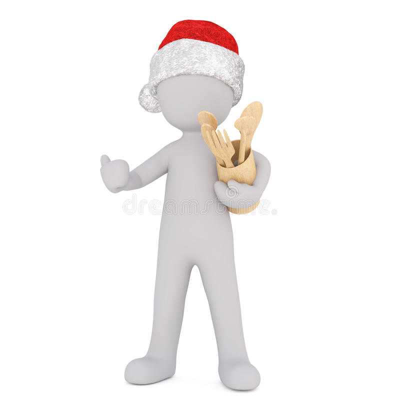 3d Christmas chef with wooden baking utensils. 3d Christmas in a festive red Santa hat chef with wooden baking utensils in a container clutched under his arm royalty free illustration