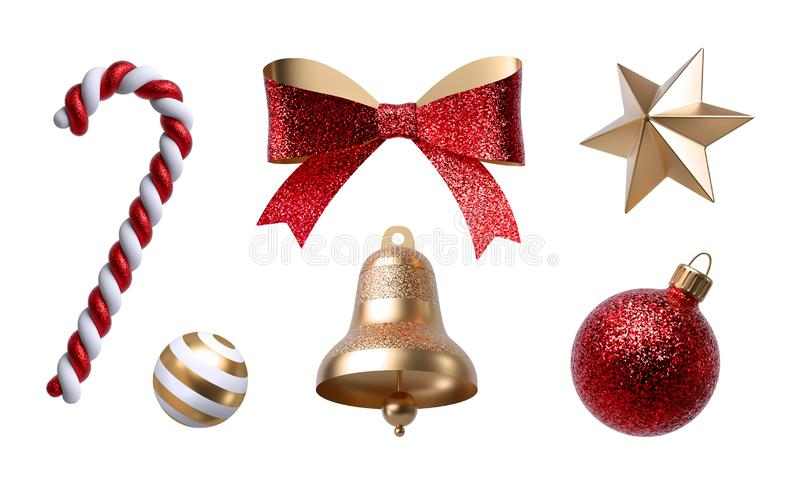 3d Christmas clip art. Design elements, isolated on white background. Golden bell, paper bow, red ribbon, candy cane, ornaments. 3d Christmas clip art. Set of stock image