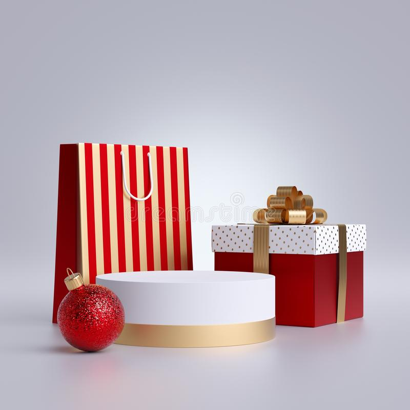 3d Christmas commercial mockup. Shopping bag, round podium and wrapped gift box, isolated on white background. Blank pedestal. 3d Christmas commercial mockup stock photos