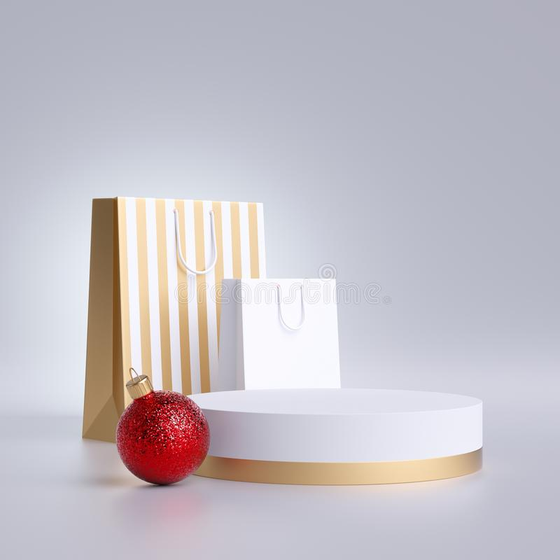 3d Christmas commercial mockup. Shopping bags, round podium and red ball ornament, isolated on white background. Blank pedestal stock photography