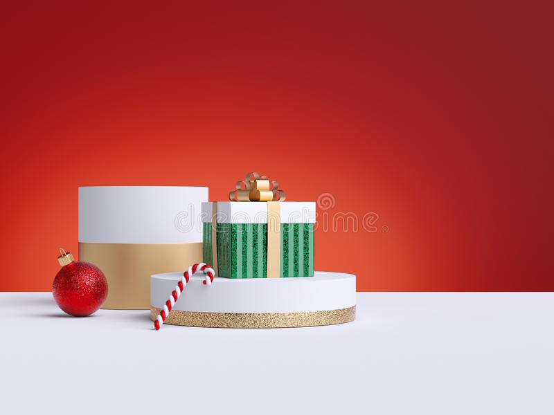 3d Christmas commercial mockup. Shopping sale concept. Gift box, candy cane, red ball ornament, red background, white floor. Empty stock illustration