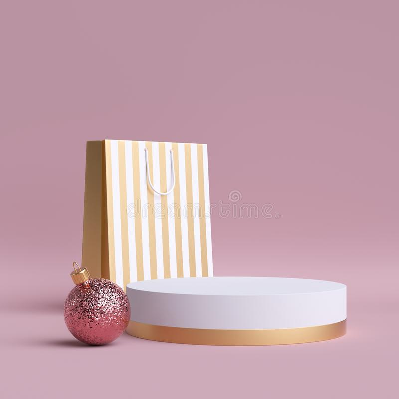 3d Christmas feminine commercial mockup. Shopping bag, round podium, glass ball ornament. Clip art isolated on pink background royalty free stock image