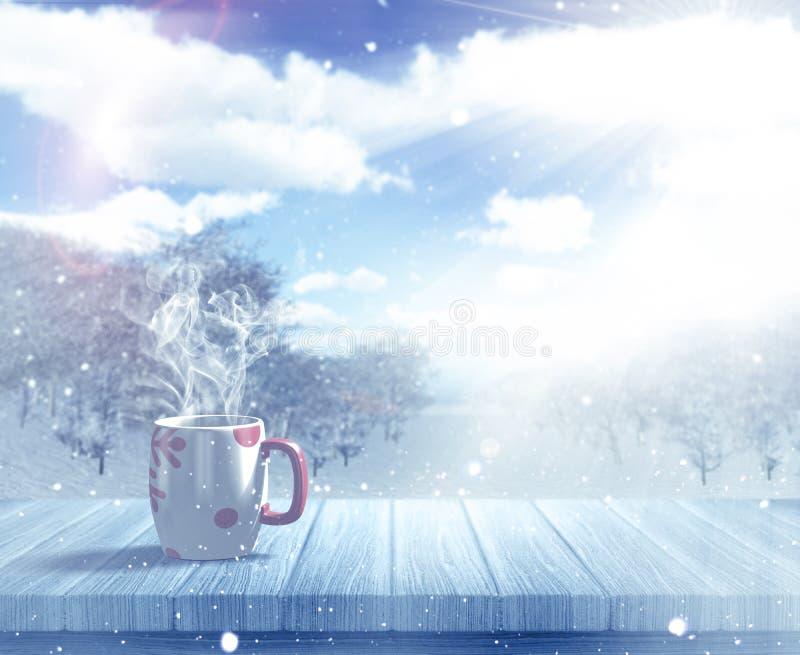 3D Christmas mug on a wooden table against a defocussed snowy la. 3D render of a Christmas mug on a wooden table against a defocussed snowy landscape vector illustration