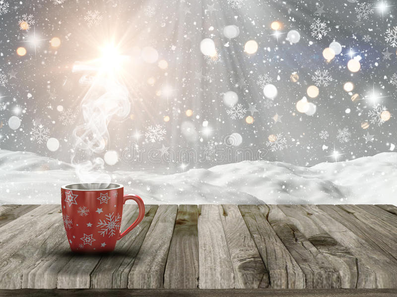 3D Christmas mug on a wooden table with snowy scene stock illustration