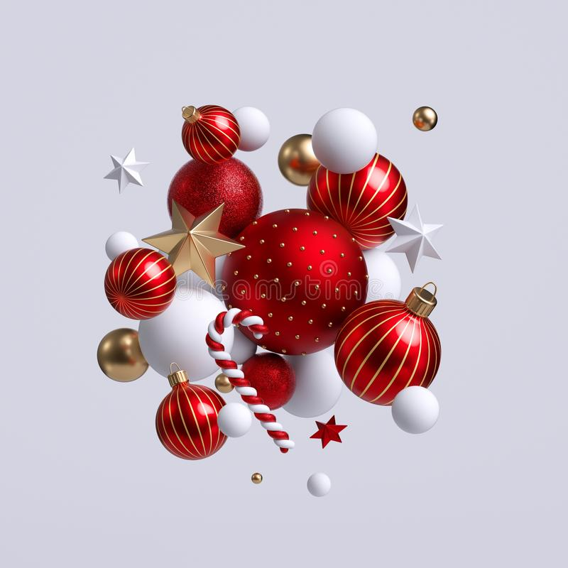 3d Christmas ornaments, red and gold balls, stars and candy cane. Seasonal festive clip art, isolated on white background. Abstract holiday concept stock photo
