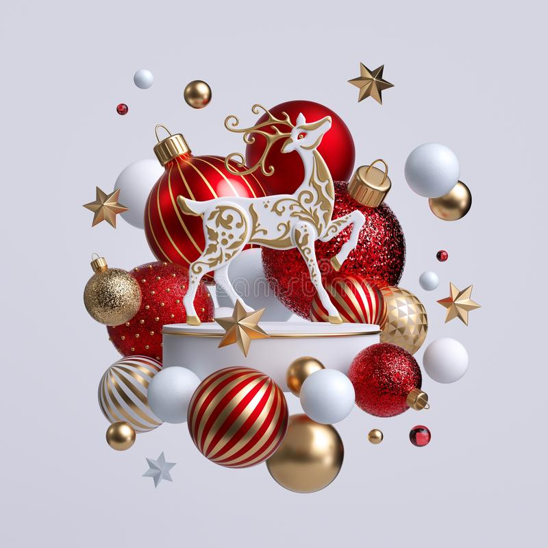 3d Christmas reindeer with ornaments isolated on white background. Decorative deer with golden antlers, white pedestal, balls. 3d Christmas reindeer with royalty free stock images