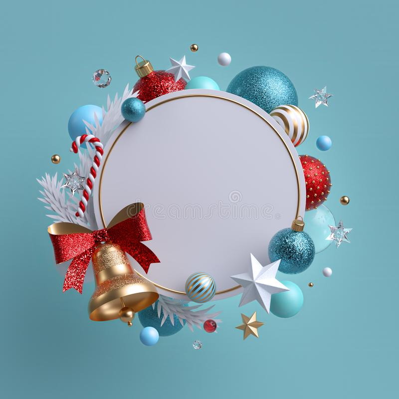 3d Christmas round wreath isolated on blue background. Golden bell with red bow. Blank frame, xmas ornaments, glass balls, stars. And candy cane stock photography