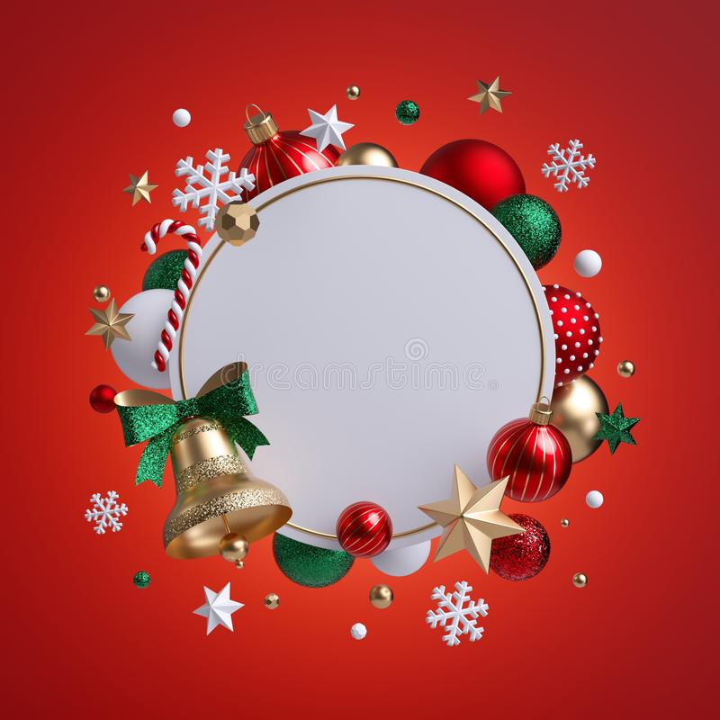 3d Christmas round wreath isolated on red background. Golden bell with green bow. Blank frame, white banner, xmas ornaments, glass stock illustration