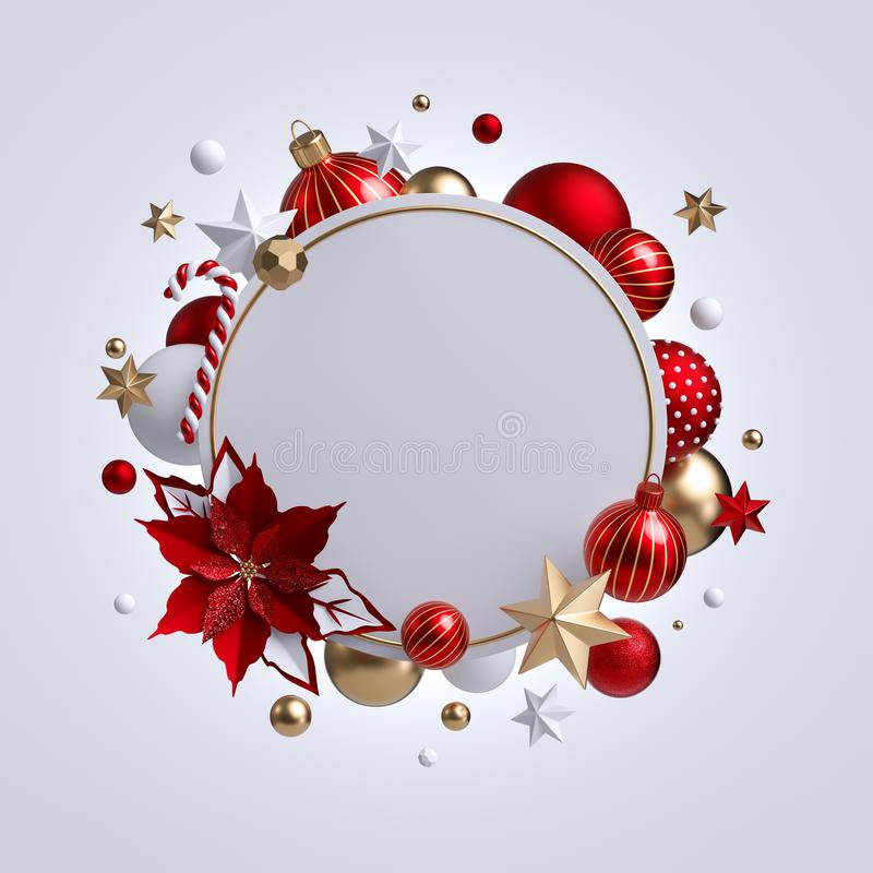 3d Christmas round wreath with red poinsettia flower isolated on white background. Blank frame, golden xmas ornaments, glass balls. Stars and candy cane royalty free stock images