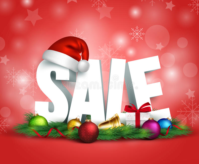 3D Christmas Sale Text for Promotion vector illustration