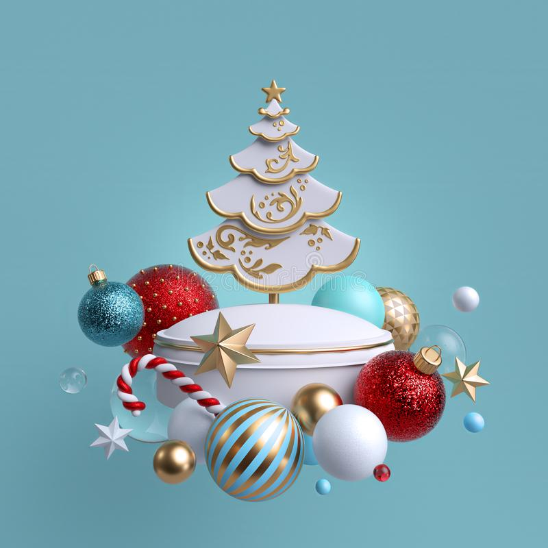 3d Christmas tree ornaments, isolated on blue background. Greeting card or poster. Winter holiday decor: festive glass balls,. Golden stars, candy cane vector illustration