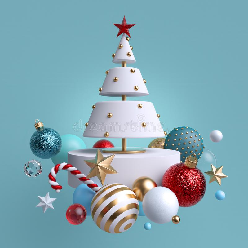 3d Christmas tree ornaments levitating, isolated on blue background. Winter holiday decor: festive glass balls, golden stars. Candy cane, snowballs. Greeting stock illustration