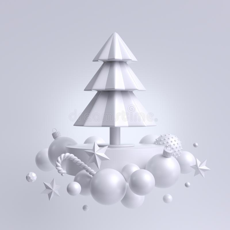 3d Christmas white background, fir tree decorated with ornaments. Winter holiday decor: snow balls, paper stars, candy cane. vector illustration