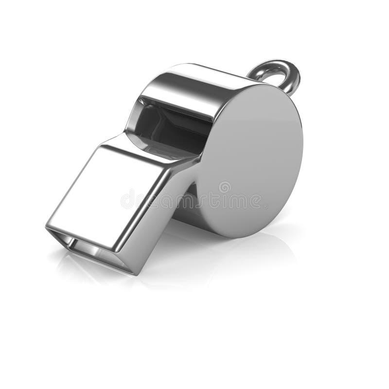 3d Chrome-scheidsrechtersfluitje royalty-vrije illustratie