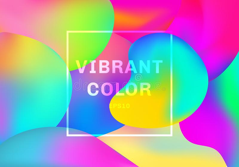 3D ciecz lub fluid kształtujemy gradientowych elementów koloru wibrującego tło royalty ilustracja