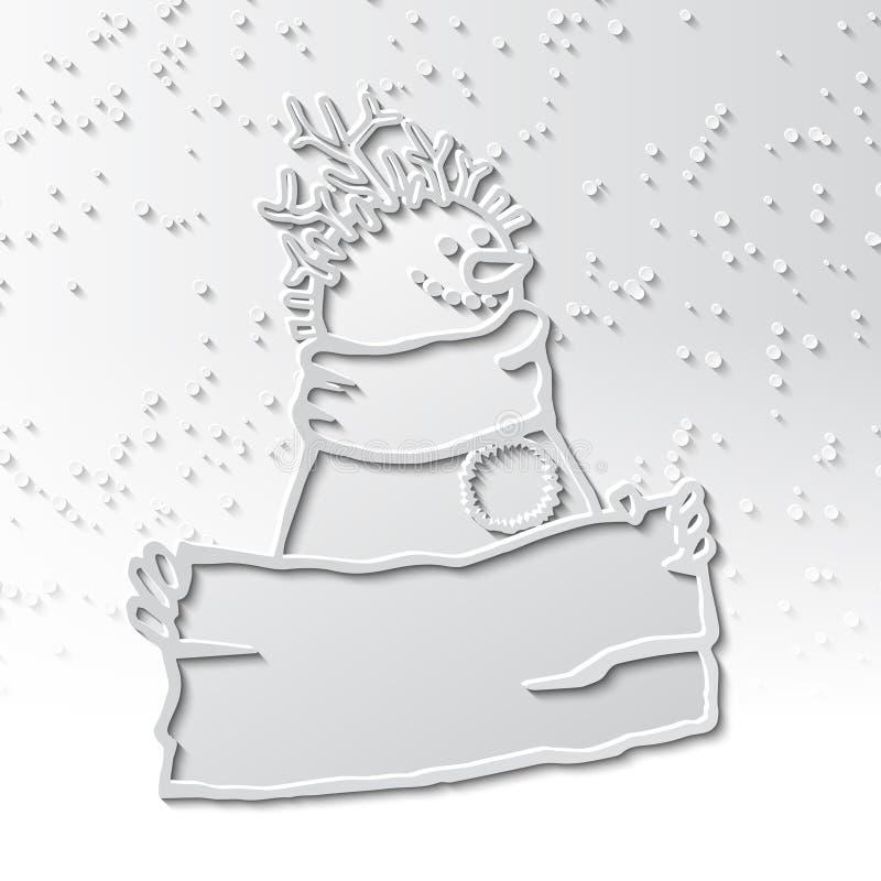 3d cienia bałwan z ostrzyżeniem gałązki z znakiem w jego ręki ilustracji