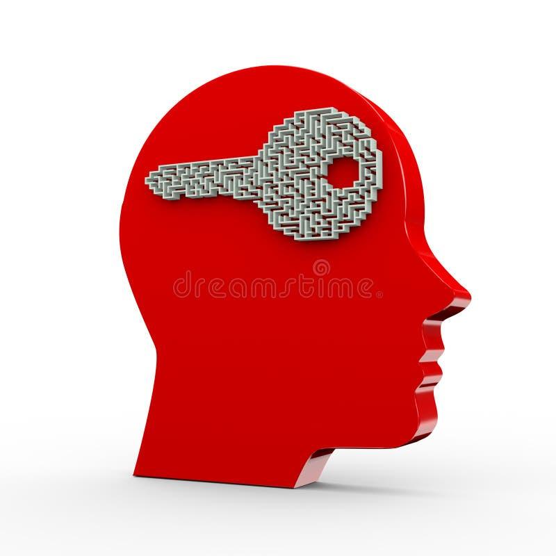 3d cierran el laberinto del rompecabezas del laberinto de la forma y la cabeza humana stock de ilustración