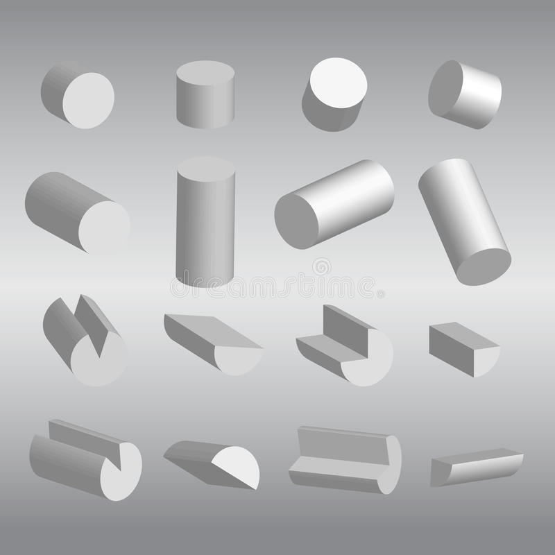 3D cilíndrico e vetor das frações ilustração royalty free