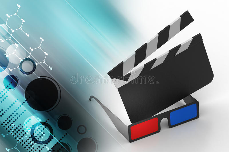 3d cinema clap board with glass. In color background vector illustration