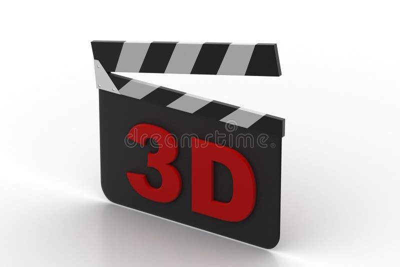 3d cinema clap board. In white background stock illustration