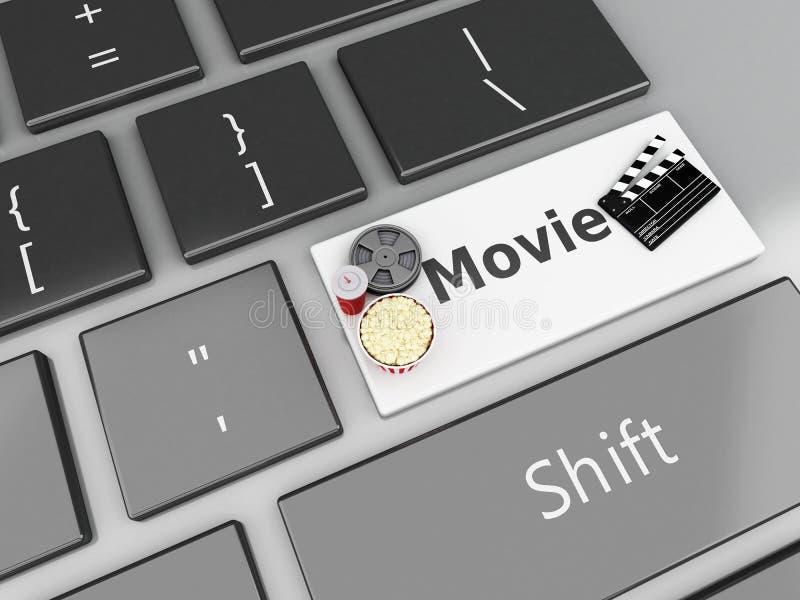 3d Cinema Clapper board, popcorn and Film reel on computer keyboard. royalty free illustration