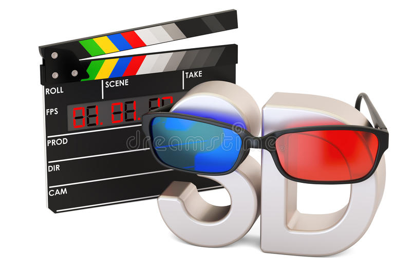 3D cinema concept with 3D glasses and digital movie clapper boar royalty free illustration