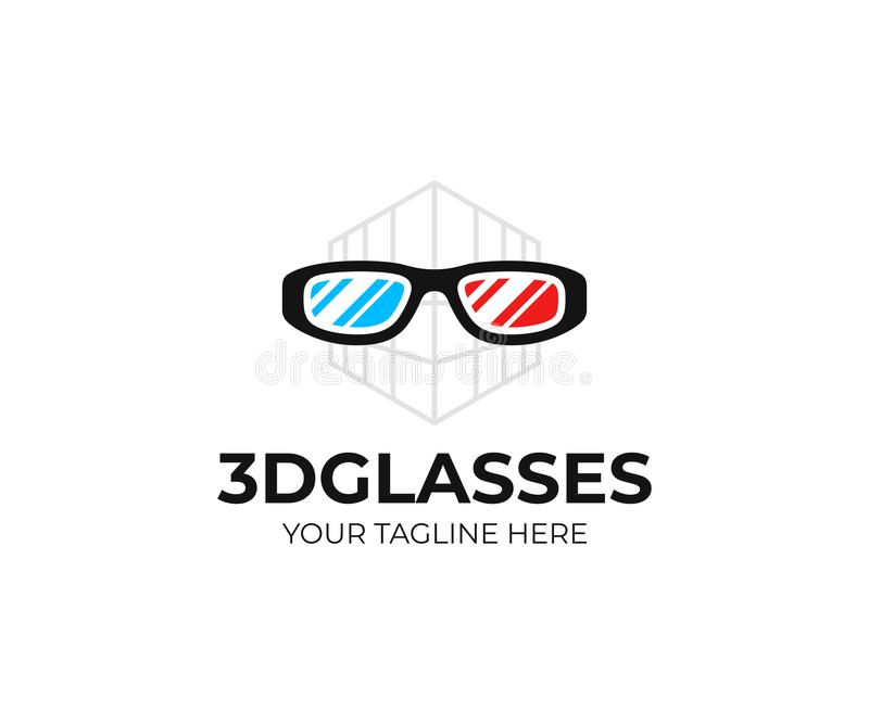 3D cinema glasses logo template. Red cyan anaglyph 3D spectacles vector design royalty free illustration