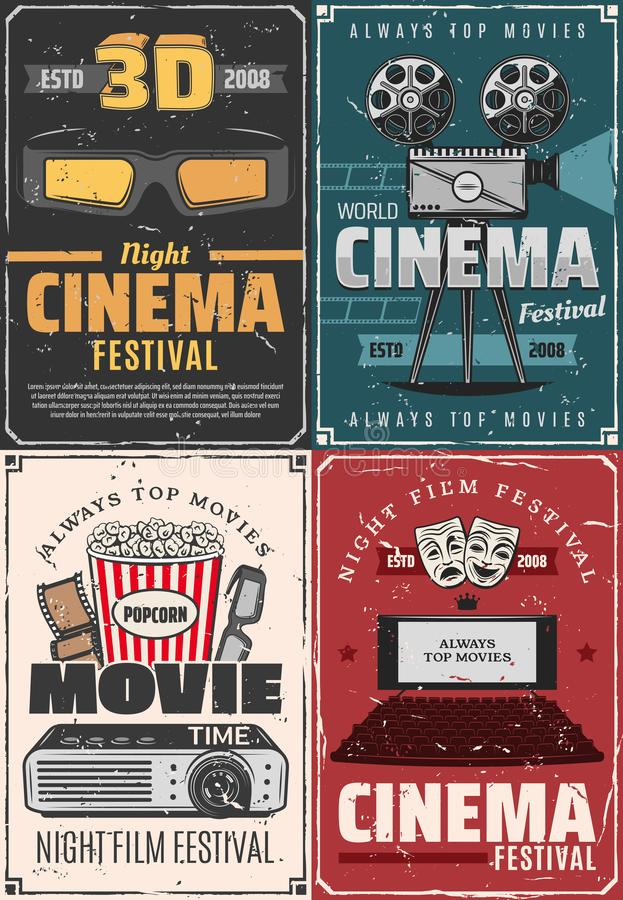 3D cinema theater, movie night premiere festival. Film festival, cinema theater premiere night and movie vintage posters. Vector cinematography movie stock illustration
