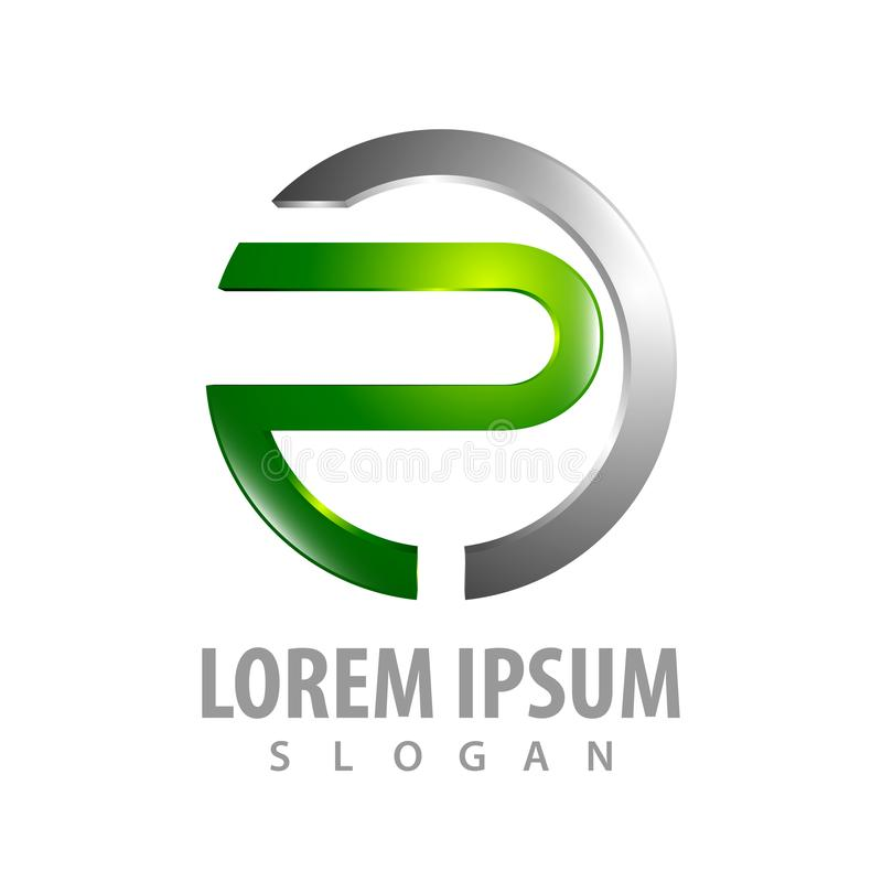 3D circle letter P logo concept design. Symbol graphic template element vector vector illustration