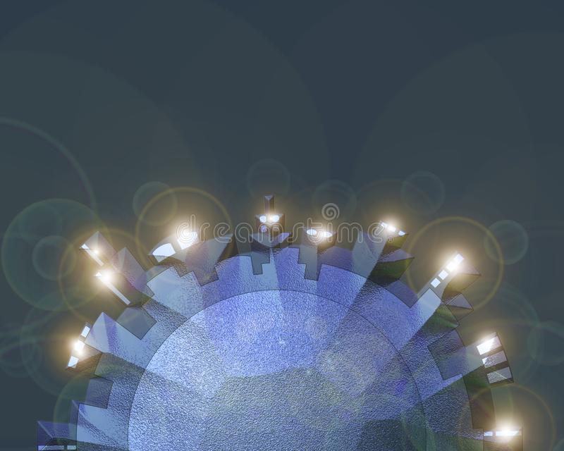 3D circular cityscape stock illustration