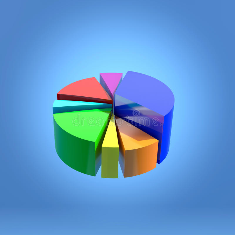 3D circular statistics graphic. Background 3d illustration royalty free illustration