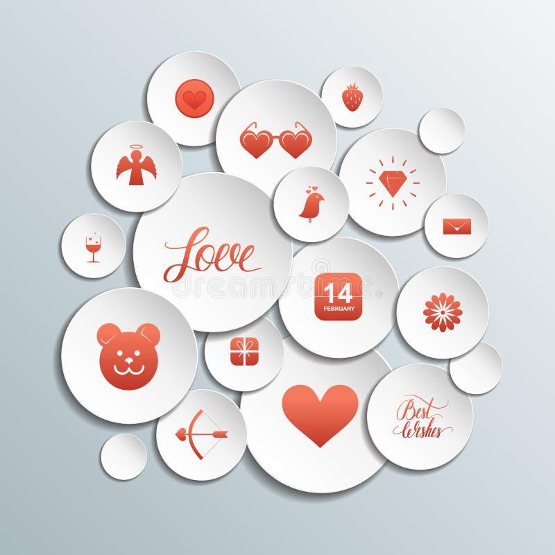 3d circunda com os ícones vermelhos dos Valentim no fundo cinzento ilustração royalty free