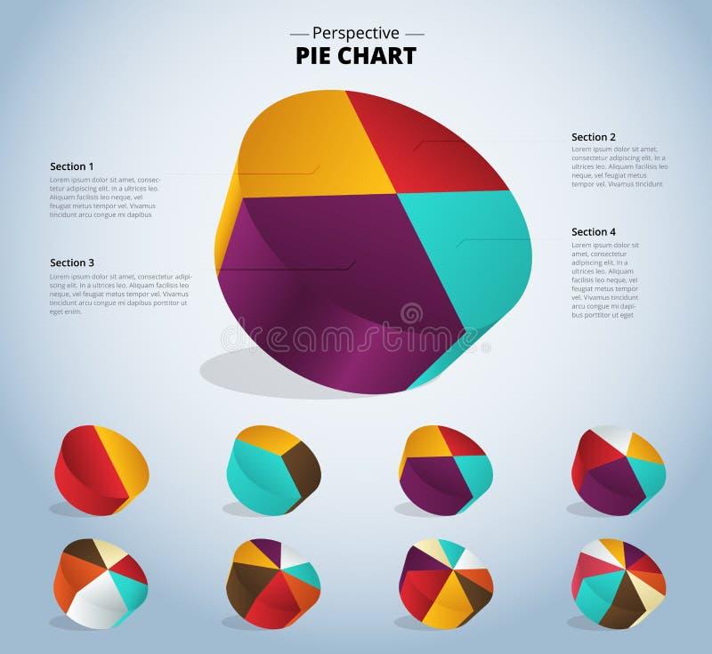3D cirkeldiagram infographic voor gebruikte presentatie Vector illustrat stock illustratie