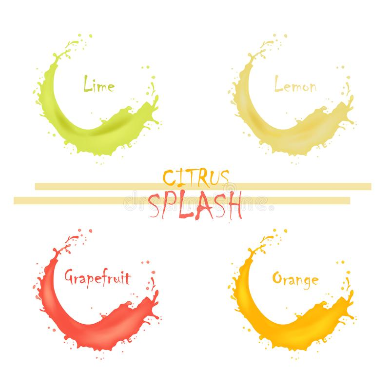 3d citron tordu réaliste, chaux, pamplemousse, éclaboussure de jus d'orange avec des baisses Vague surfante crème juteuse d'isole illustration libre de droits