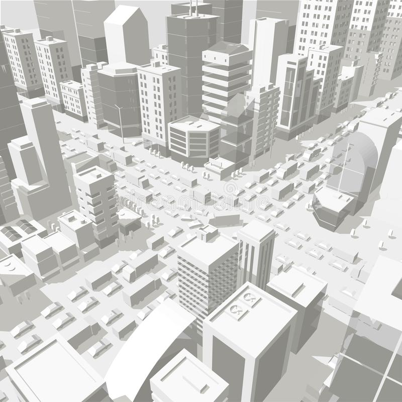 3d city buildings background street In light gray tones. Road Intersection. High detail city projection view. Cars end royalty free illustration