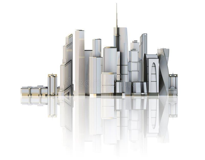 3d city isolated on mirror floor vector illustration