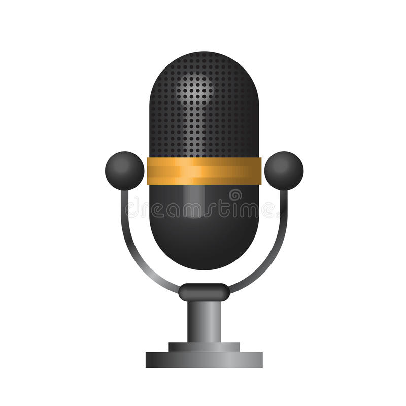3D Classic microphone icon symbol on white background vector illustration