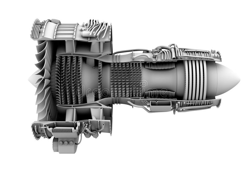 3D clay cutaway render of turbofan jet engine isolated on white background royalty free illustration