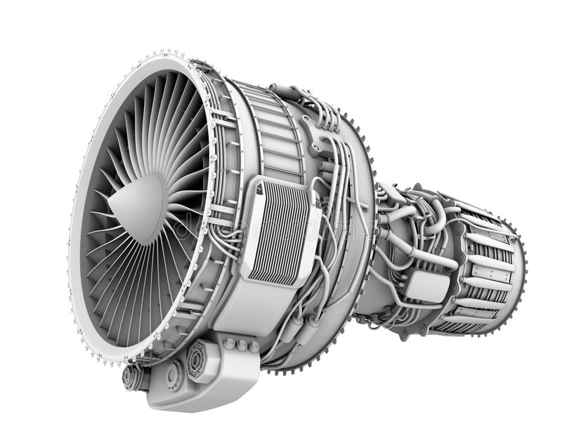 3D Clay Render Of Turbofan Jet Engine Isolated On White