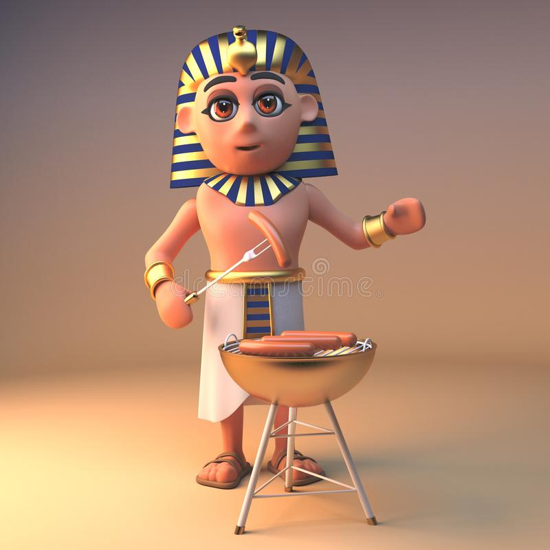 3d Cleopatra Tutankhamun Egyptian character cooking on a gold barbecue bbq, 3d illustration. Render stock illustration