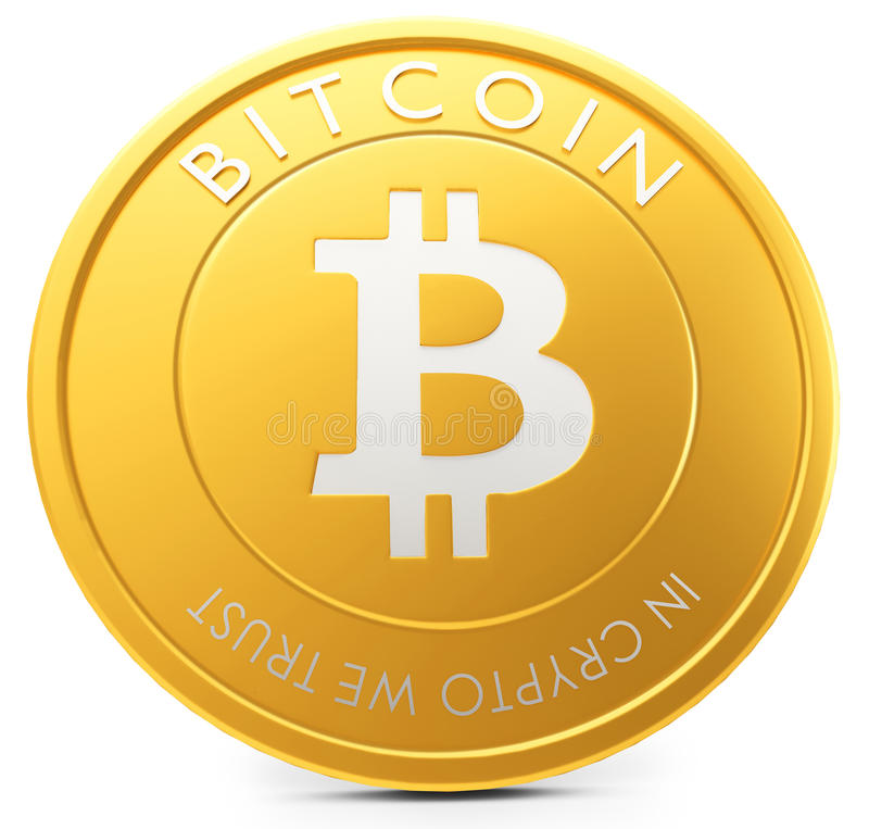 3d close-up of golden Bitcoin coin, decentralized crypto-currency. On white background royalty free illustration