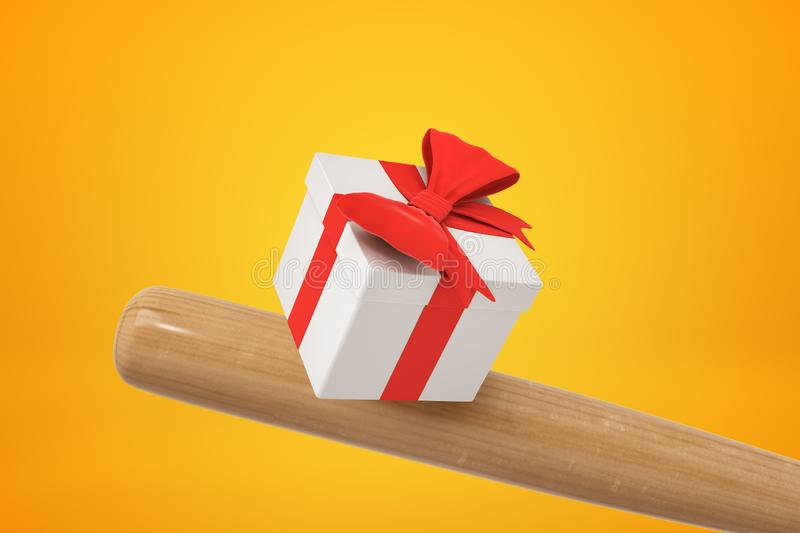 3d close-up rendering of baseball bat hitting white gift box tied with beautiful red ribbon on amber background. royalty free illustration
