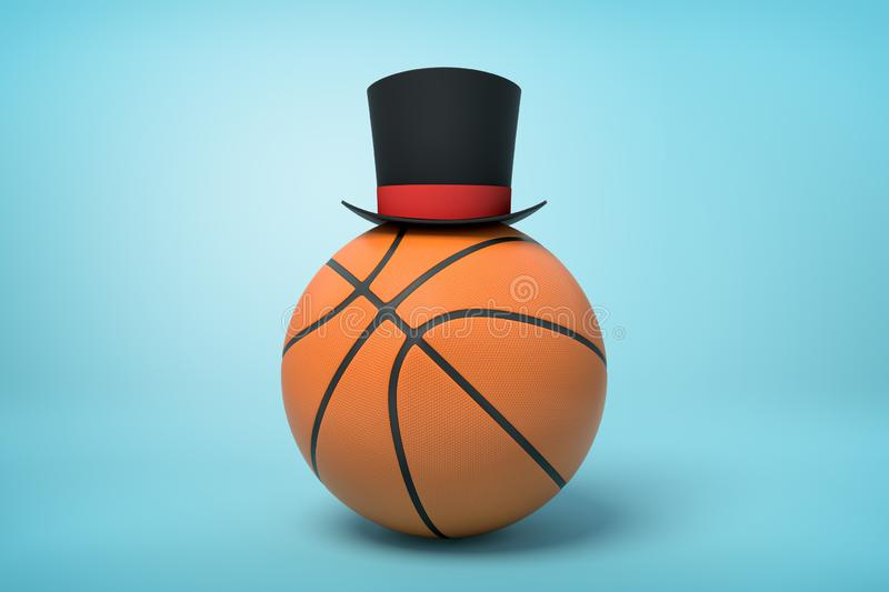 3d close-up rendering of basketball with little black tophat on top on light-blue background. royalty free illustration