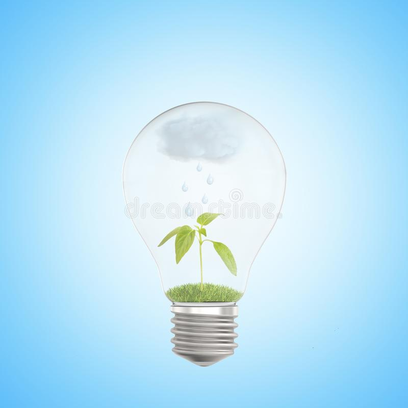 3d close-up rendering of electric bulb with green sprout and rain cloud inside on light blue background. royalty free stock images