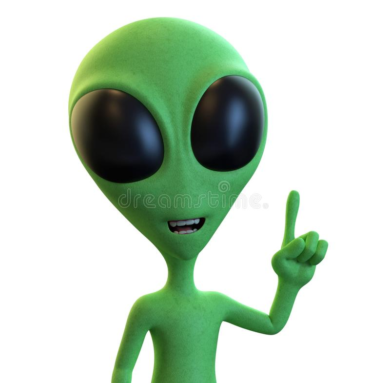Green Cartoon Alien has an idea or solution vector illustration